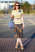 blue River Island skirt - mustard next sweater - navy pauls boutique bag