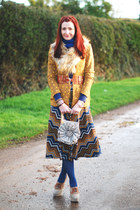 blue River Island skirt - mustard asos blazer - beige faux fur H&M scarf