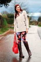 navy floral asos jeans - dark brown red herring boots