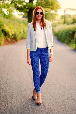 blue asos pants - silver asos blazer - sky blue asos sunglasses
