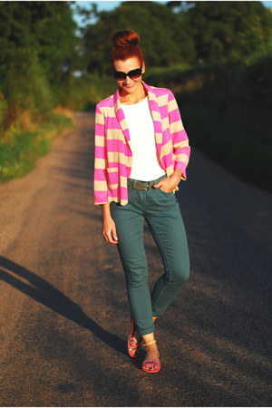 bubble gum River Island blazer - teal Toast jeans