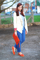 blue Very jeans - off white Very jacket - light blue M&S shirt - red asos bag
