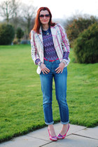 silver Debenhams necklace - blue La Redoute jeans - amethyst asos sweater
