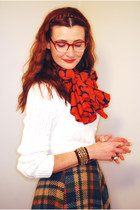 red thrifted vintage scarf - ivory FF sweater - navy asos skirt