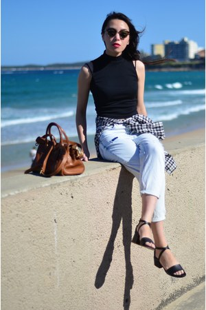 black leather black COS sandals - light blue Topshop jeans
