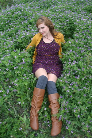 thrifted boots - XXI dress - Anthropologie cardigan - American Apparel stockings