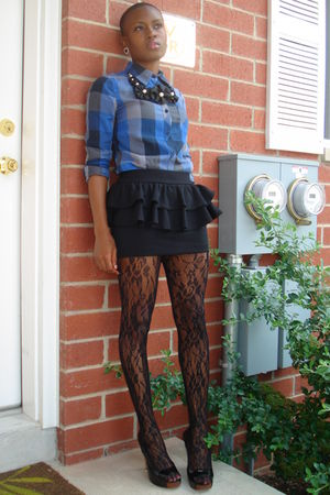 black Forever 21 skirt - blue madness shirt - black Jessica Simpson shoes