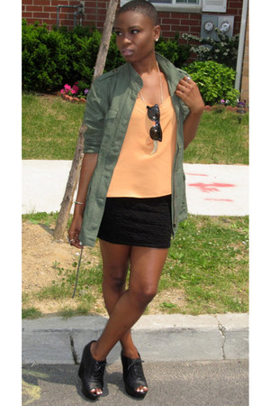 black Forever 21 skirt - light orange H&M top - black Steve Madden wedges