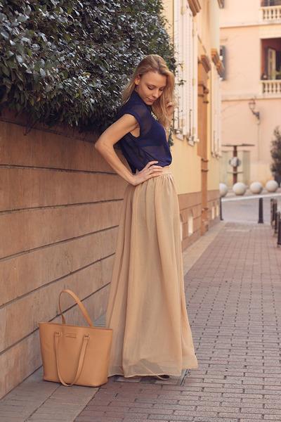H&M shirt - DKNY bag - H&M necklace - pull&bear skirt - H&M intimate