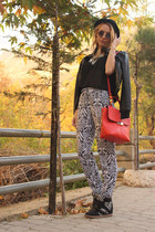 red Topshop bag - black New Yorker jacket - black H&M blouse