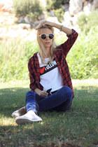 white H&M top - navy pull&bear jeans - brick red Zara blouse