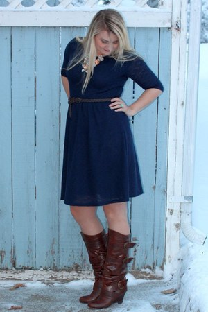 brown Not Rated boots - navy lace texture Romy dress