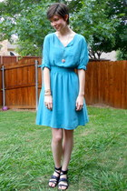 turquoise blue dress - black Rock Republic sandals