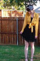 mustard blouse - black Forever 21 dress - silver accessories
