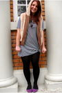 Blue-old-navy-dress-beige-gap-vest-purple-shoes