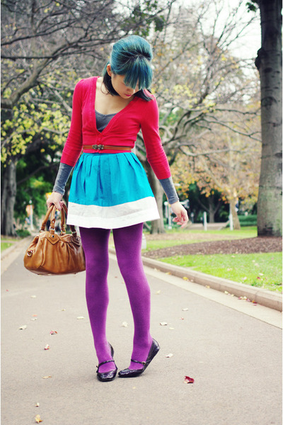 red Avocado cardigan - amethyst Target tights - tawny Marc by Marc Jacobs bag