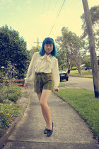 white blouse - olive green Esprit shorts - dark gray shoes - dark gray belt