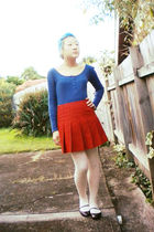 blue shirt - orange skirt - beige tights - purple Mossimo shoes