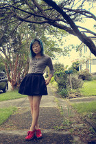 heather gray Temt cardigan - black Topshop skirt - red Jeffrey Campbell shoes