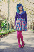 magenta tights - purple Ally cardigan - bubble gum Dangerfield skirt - brown hee