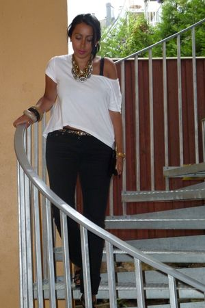 white asos t-shirt - black sass & bide jeans - black Zara shoes - gold Primark a