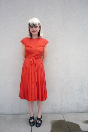 red carlye dress - black remix shoes