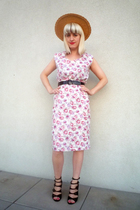 vintage dress - vintage belt - vintage hat - Topshop shoes
