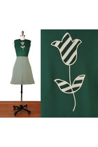 dark green vintage 1960s dress dress