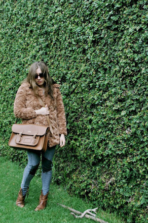 faux fur 47 street coat - leather Steve Madden boots - H&M jeans