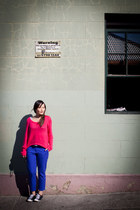 hot pink Sportsgirl sweater - blue Sportsgirl pants - black Converse sneakers