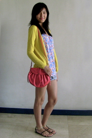 yellow Mango cardigan - white Zara top - gray Hong Kong shorts - red Mango purse