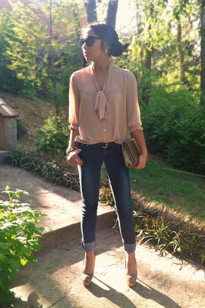 neutral Forever 21 shirt - navy SM jeans - bronze clutch Express bag