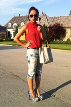 white Betsey Johnson heels - light blue DIY jeans - salmon sheer TJ Maxx shirt