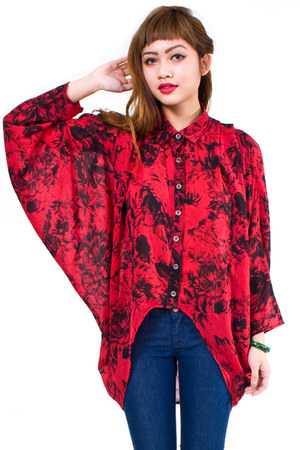ruby red MinkPink blouse