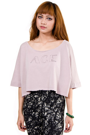 light pink jersey crop top Kill City top