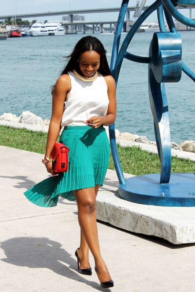 white silk Mango blouse - red Zara bag - Zara skirt - Christian Louboutin pumps