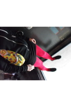 black American Apparel sweater - black H&M top - red American Apparel tights - b