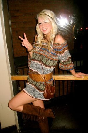 brown Forever 21 boots - brown Forever 21 dress - brown Forever 21 purse - brown