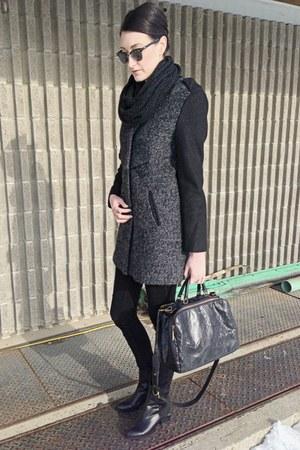 black winners jacket - black choiescom boots - black mattandnat bag