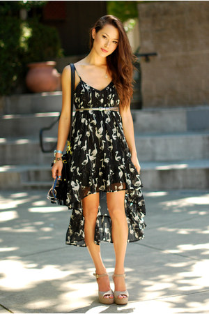 black Billabong dress - black Nasty Gal bag - camel Steve Madden heels