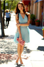 Aquamarine-chiffon-in-love-with-fashion-dress-pink-rosette-lulu-townsend-bag