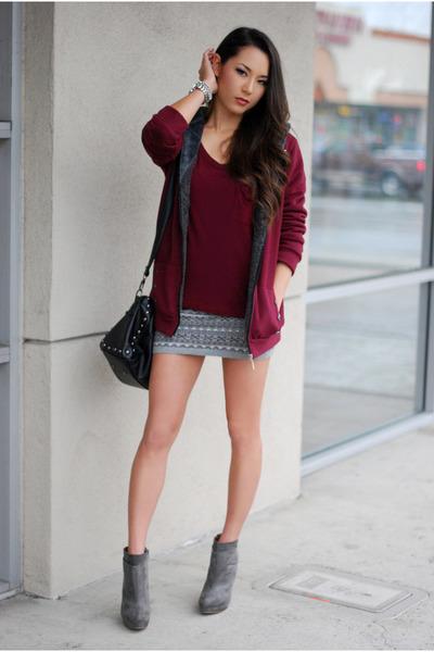 silver Forever 21 skirt - heather gray Zara boots - crimson BangGood jacket