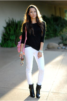 black pink and pepper boots - white JBrand jeans - bubble gum Grafea bag