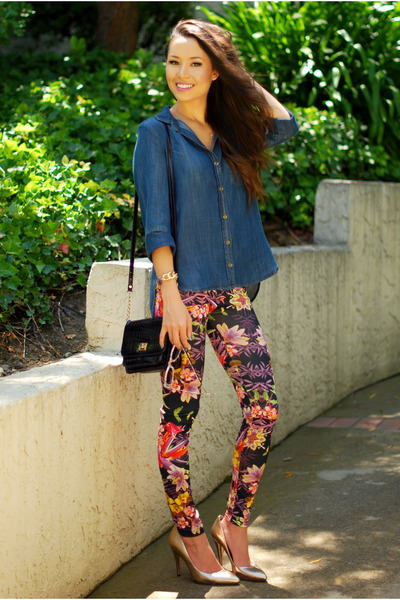 maroon Pop Couture leggings - navy Bella Dahl shirt - deep purple Aldo bag