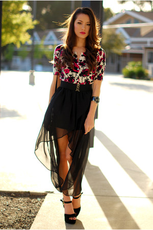 black Queens Wardrobe skirt - magenta Forever 21 cardigan