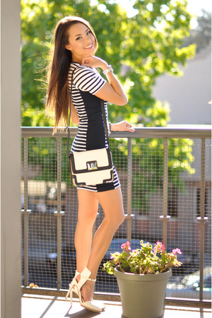 black Topshop dress - black Express bag - white Nasty Gal heels