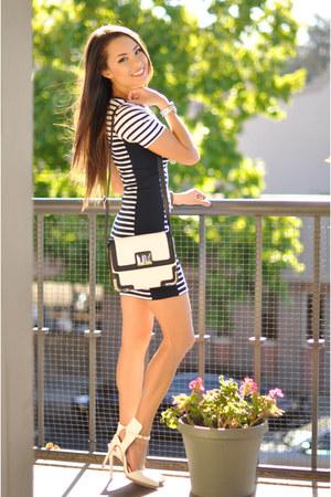 black Topshop dress - black Express bag - white Nasty Gal heels