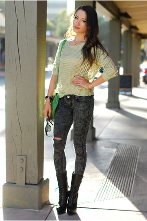 lime green Udobuy sweater - black Bebe boots - heather gray pink ice jeans