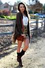 Light-brown-choies-sweater-mustard-awwdore-skirt