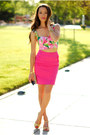 Gold-aldo-bag-hot-pink-h-m-skirt-bubble-gum-lavish-alice-top